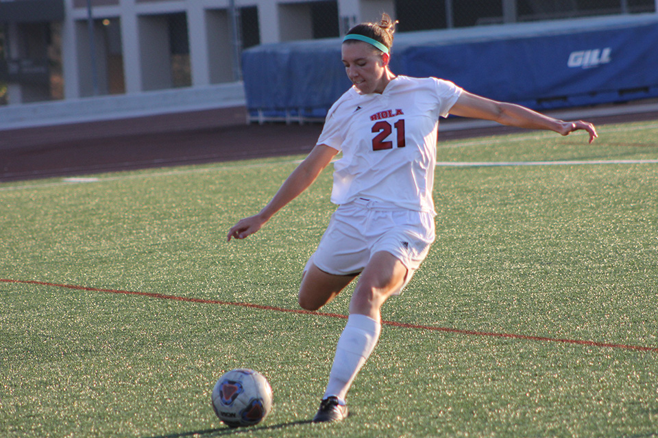Senior Cat Newberry normally plays defensively, but recently scored her first goal.
