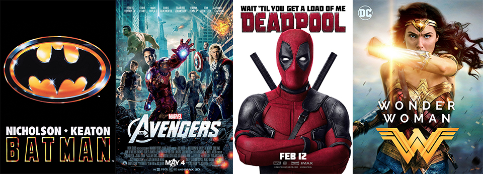 The four superhero movies, Batman, Avengers, Deadpool and Wonder Woman, that changed the genre.
