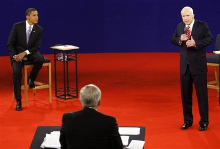 Republican presidential candidate Sen. John McCain answers a question during a townhall-style presidential debate at Belmont University in Nashville, Tenn., Tuesday, Oct. 7, 2008.  With the election rapidly approaching, absentee ballots are approaching their deadline.    Photo by AP Photo