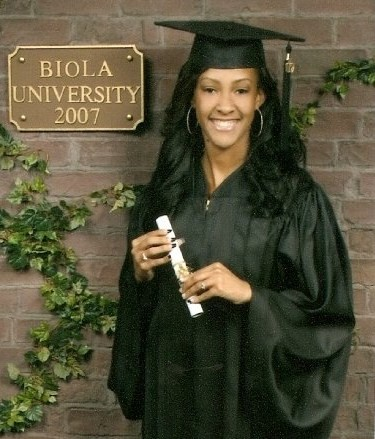 Crystal Crawford after her graduation in 2007. At Biola she was a resident assistant in Alpha Chi and a member of the Red Tide dance group. She kept in close contact with Biola friends even after she graduated.