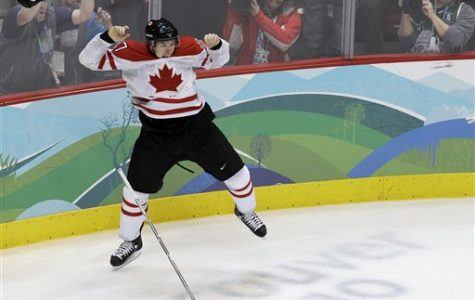 Canada's Sidney Crosby leaps in the air after making the game-winning goal in the overtime period of the men's gold medal ice hockey game against team USA at the Vancouver 2010 Olympics in Vancouver, B.C. on Feb. 28.