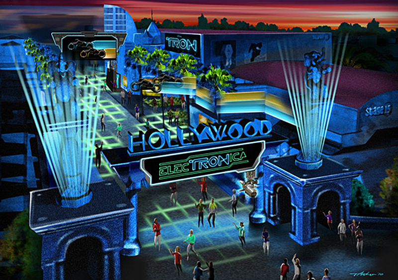 An artist's impression of ElecTRONica, promoting itself as a dance party with cast performances and high-tech laser shows. The new California Adventure fixture is scheduled to remain in place until summer. | Photo courtesy of Disney Parks Blog