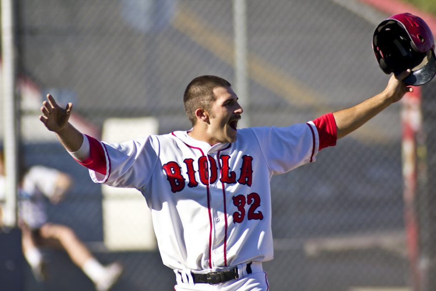 First baseman Drake Fages reacts after scoring one of five runs scored in the bottom of the sixth inning on Thursday, March 10, 2011. Biola baseball defeated Westmont 9-7.