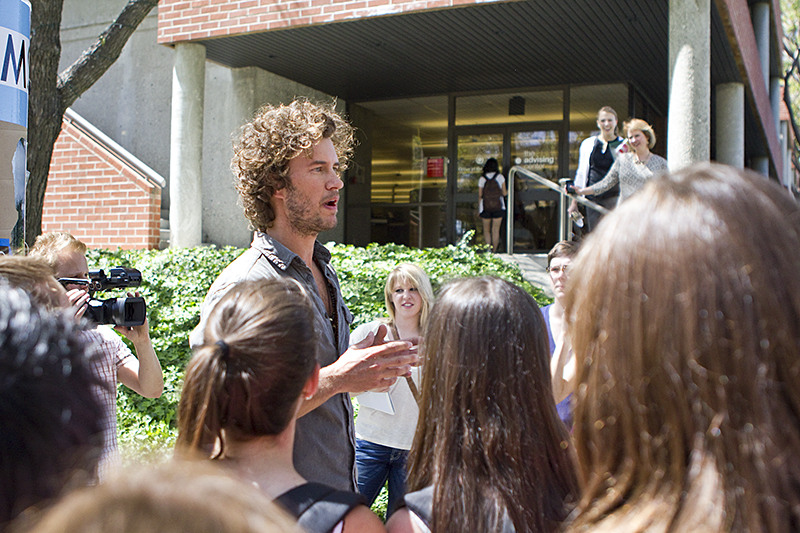 TOMS founder and Chief Shoe Giver Blake Mycoskie visited Biola in April to announce an upcoming mystery product, which was revealed June 7 as a new line of eyewear. |Job Ang/THE CHIMES