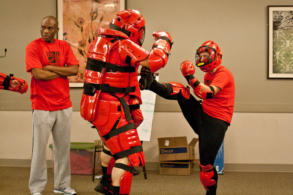 Freshman Ashley Adams fights off a potential attacker in a mock fight against sexual predators at a RADS event for Sexual Violence Awareness Week on Tuesday, April 24, 2012.