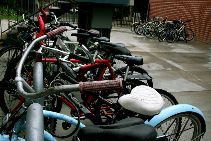 On a rainy day, the bike racks outside of Stewart and Hart become crowded. | Emily Arnold/THE CHIMES [file photo]