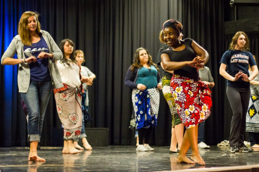 Linda Kazibwe-James form Whittier Christian High School, who is originally from Kenya, leads an African Dance Workshop on Saturday morning. | Rachel Adams/THE CHIMES