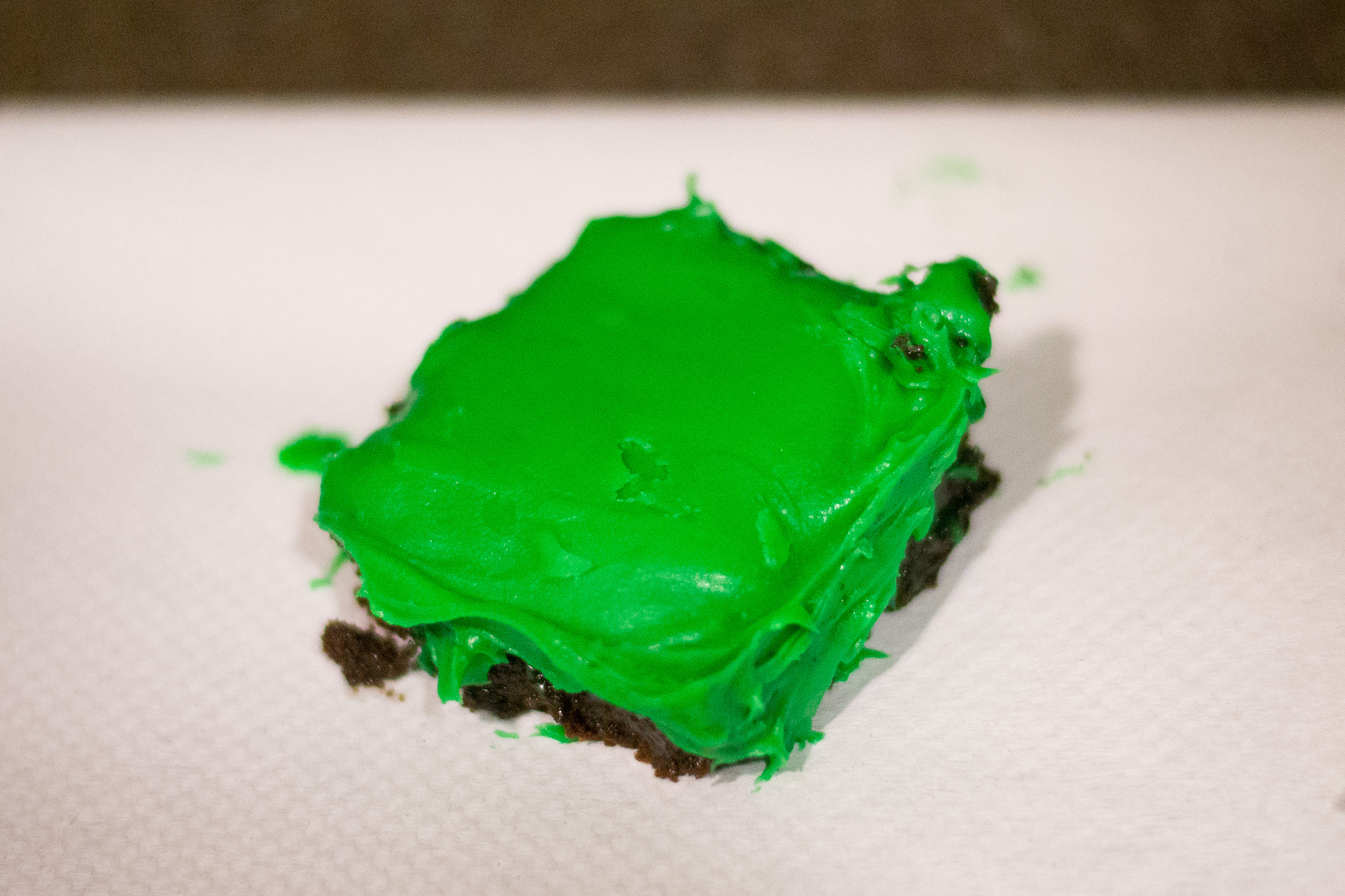 Mint green brownies for St. Patrick's Day