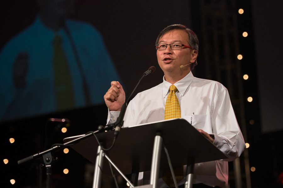 Timothy Liu speaks during the opening session of Missions Conference on Wednesday. Liu stressed the importance of living missionally in all areas of culture, particularly the marketplace. | Olivia Blinn/THE CHIMES