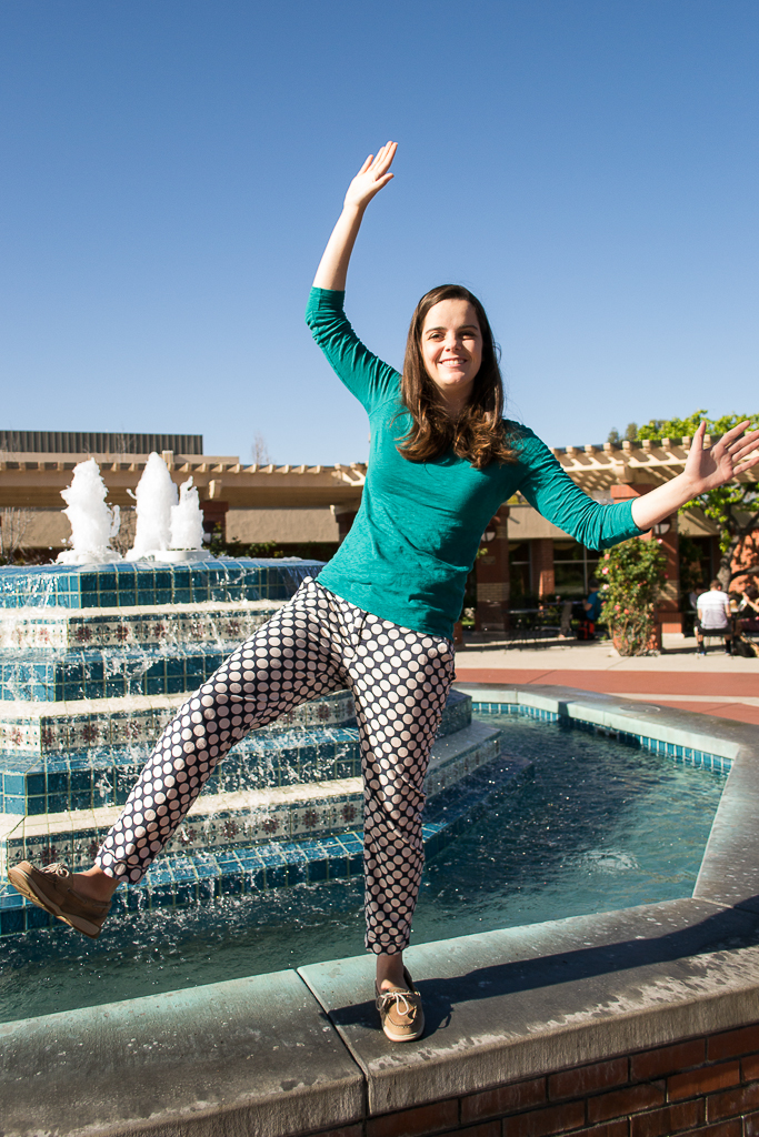"Freshman Keegan Cheleden refers to her eccentric polka-dotted outfit as her ""happy pants."" Her goal at Biola has been to be intentional with people. 