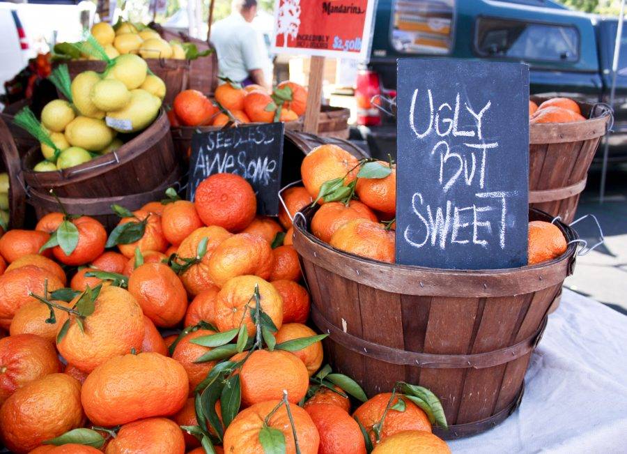A pile of seedless mandarins lie in and around a basket located at a farmer's market in Irvine, just 28 miles away from Biola's campus. These mandarins, being sold by local farmers for $2.50lb, are among the many home grown items available every Saturday from 8 a.m. to noon.