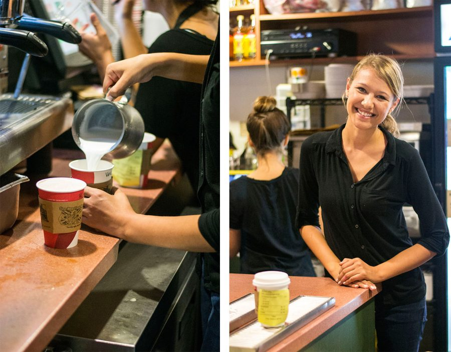 Sophomore Karli Wessale prepares a coffee order behind the counter at Commons. Her favorite drink, both personally and to promote, is an iced caramel macchiato. | Kalli Thommen/THE CHIMES