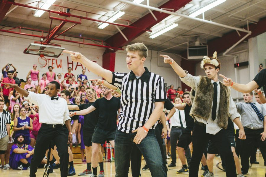 Sophomore Daniel Shepherd takes a break from refereeing to lead his dorm, Emerson, in their annual Nationball dance. | Natalie Lockard/THE CHIMES