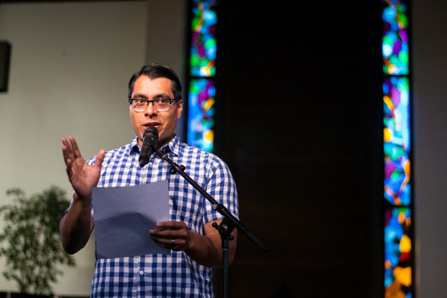 Jonathan Calvillo, adjunct professor of sociology, performs spoken word titled