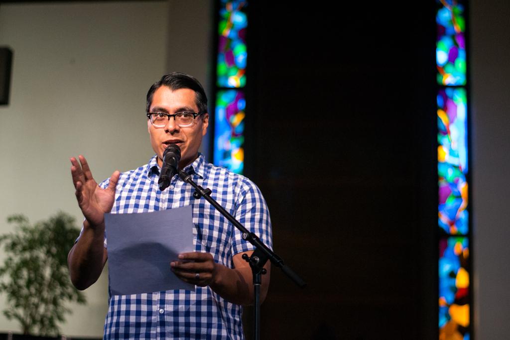 Jonathan Calvillo, adjunct professor of sociology, performs spoken word titled