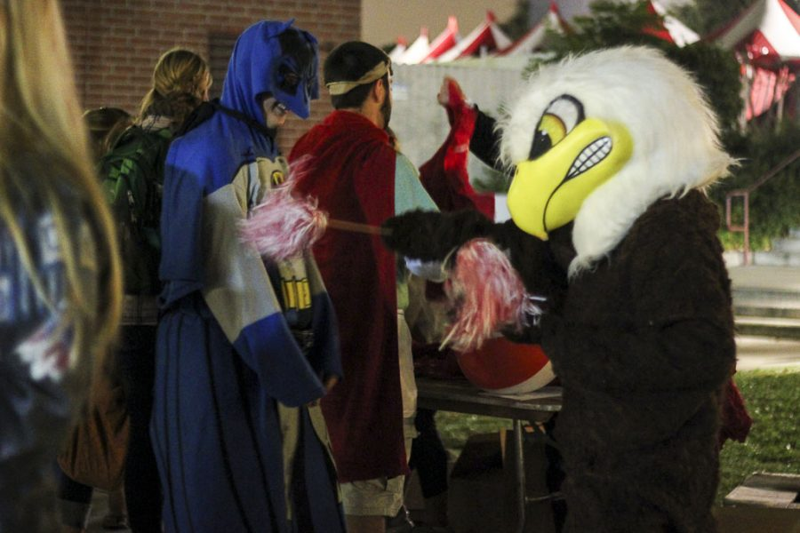 The famed Biola eagle makes an appearance at Eagle Fest, a pep rally to celebrate the fall sports. Students who attended this first-time event received free