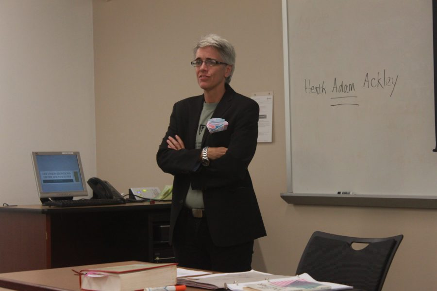 Previously known as Heather Clements, transgender professor Heath Adam Ackley relays the news of his new identity to students in class at the beginning of the fall semester. | Courtesy of Annie Z. Yu of The Clause