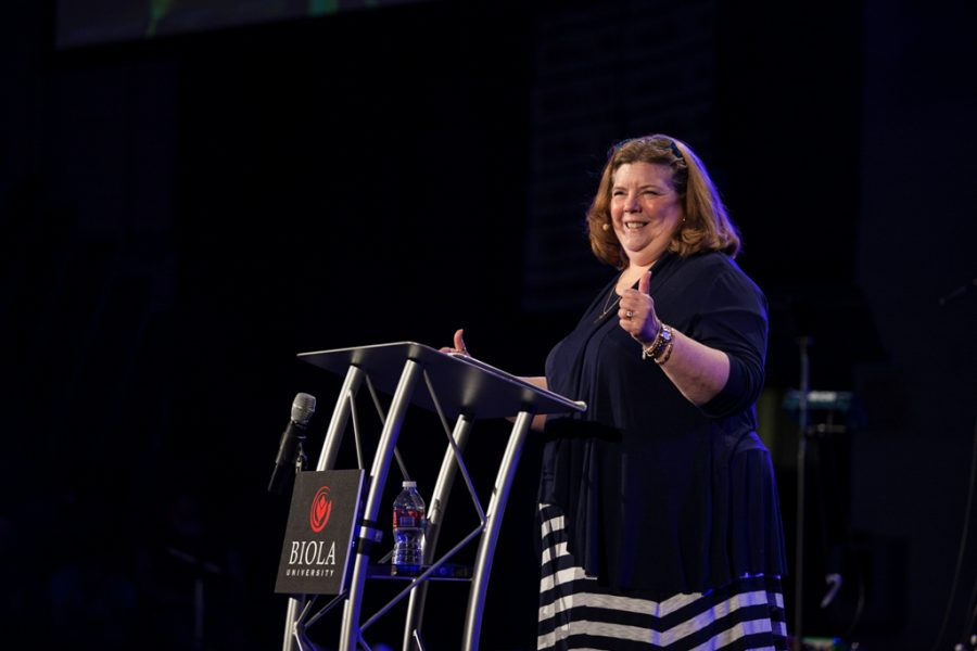 Betsy Barber, professor and speaker for Session D, walked the crowd through the Lord's Prayer. | Melanie Kim/THE CHIMES