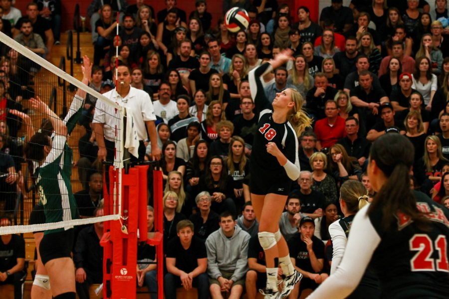 Junior Amy Weststeyn goes up for a kill during the fierce battle against Concordia last Saturday night. After a five-game fight, Concordia overpowered Biola with a final score of 6-15. | Katie Evensen/THE CHIMES