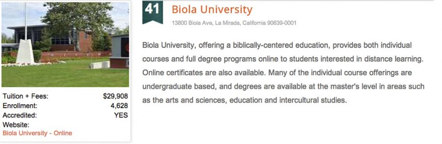 Biola ranks 41st in an affordability ranking. | Screenshot taken from www.affordablecollegesonline.org