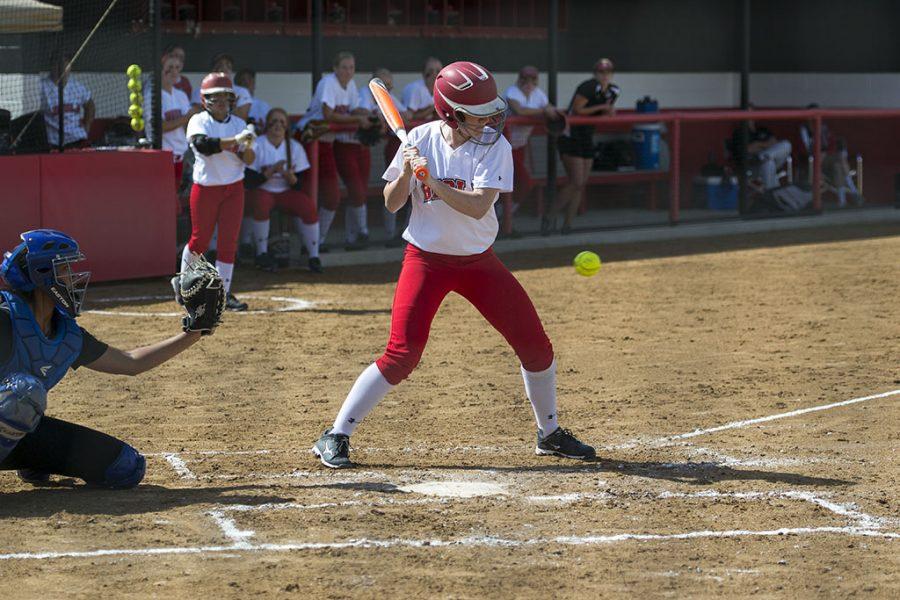 Senior Sarah Stromwall prepares to swing during the softball game last season. | Kalli Thommen/THE CHIMES [file photo]