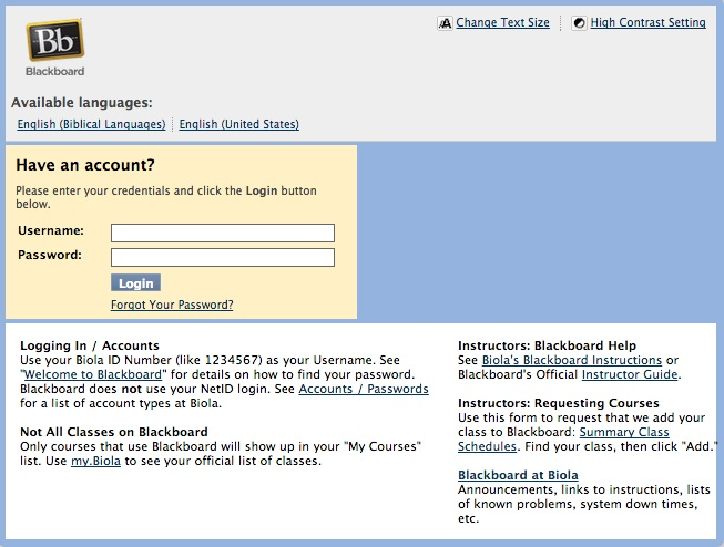 Screenshot from biola.blackboard.com