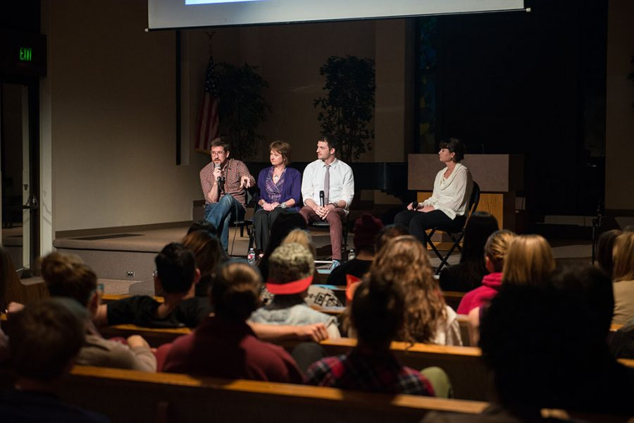 Panelists Matt Jenson, Colleen Heykoop and Matt Jones with moderator Monica Cure discuss dealing with unmet desires. The panel covered celibacy within non-heterosexual desires and the need for connection felt by all, regardless of orientation. | Aaron Fooks/THE CHIMES
