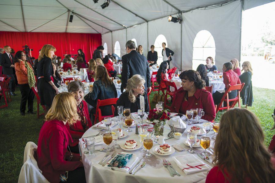 Guests at the seventh annual Biola Ruby Award Luncheon celebrate the award recipients: dean of humanities and social sciences Cassandra Van Zandt, psychology major Esther Perumalla, Biola alumna Carole MacIntyre and donor Suzanne Crowell. | Tomber Su/THE CHIMES