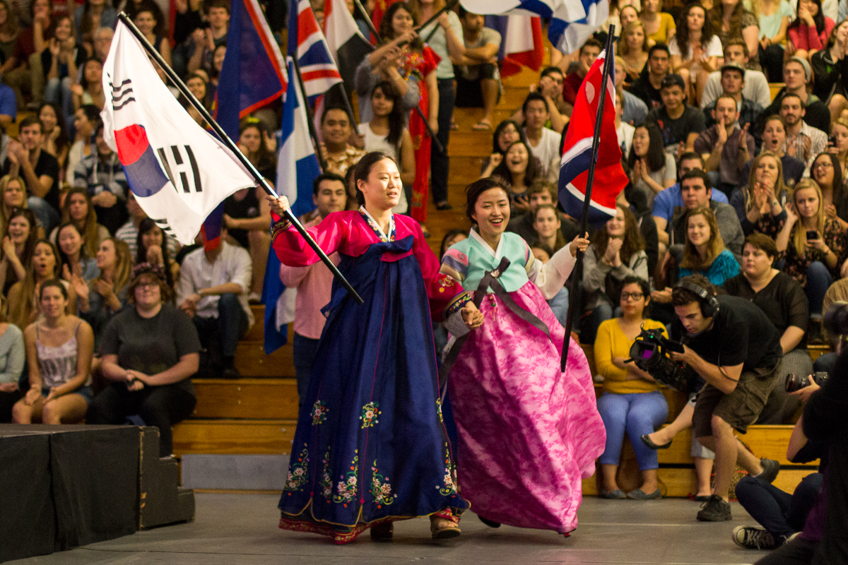 North and South Korea enter holding hands during the Parade of Nations at Echo 2014. | Natalie Lockard/THE CHIMES