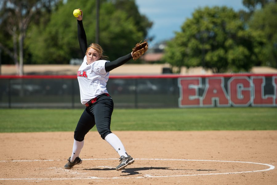 Junior right-handed pitcher Reba DePriest winds up for the pitch during the game against San Diego Christian College on Tuesday. With a win against San Diego Christian, they look hopeful as post-season play approaches. | Olivia Blinn/THE CHIMES
