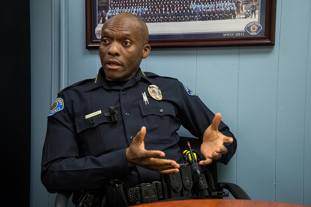Chief Ojeisekhoba of Campus Saftey explains the actions his department would take if an event of a protest on campus. | Jenny Oetzell/THE CHIMES