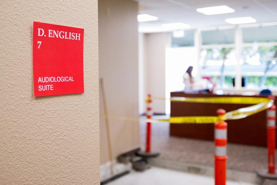 Caution tape and orange cones surround what will soon be a new audiological suite in the Dorothy English Hall. | Aaron Fooks/THE CHIMES