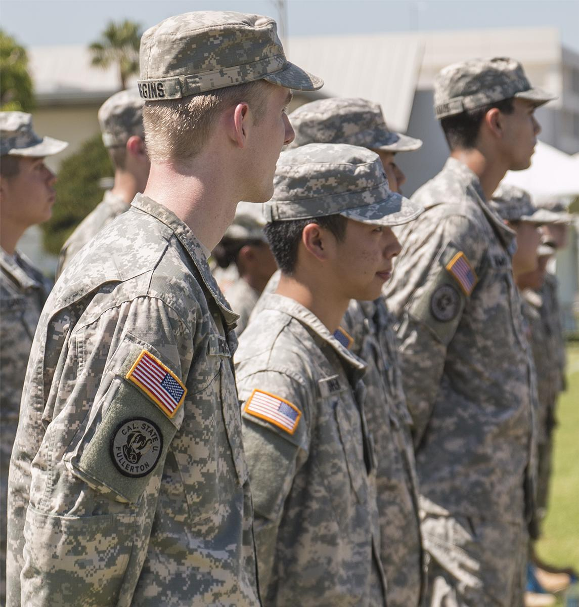 Students from Biola and other universities undergo ROTC training at Cal State Fullerton, which teaches them the foundation of military drills.   Aaron Fooks/THE CHIMES