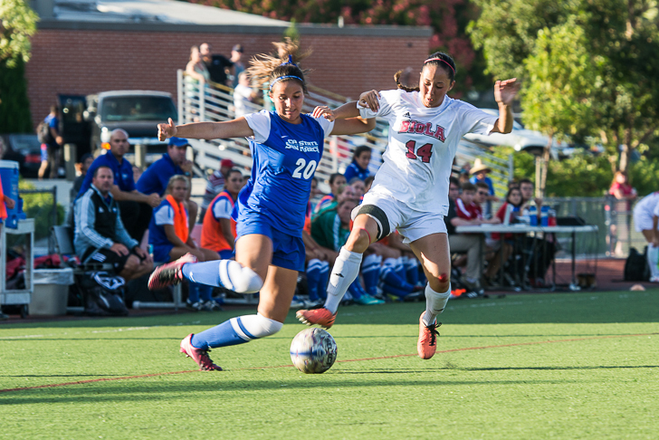 Junior midfielder Amanda Lillicrop attempts to steal the ball from San Marcos freshman Sidney Hernandez during the one-goal win against UC San Marcos on September 19. | Kalli Thommen/THE CHIMES  (2013)