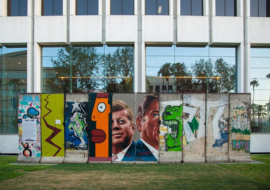 A section of the Berlin Wall covered in graffiti can be seen at LACMA on Wilshire Boulevard in Los Angeles. | Melanie Kim/THE CHIMES