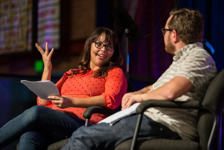 Husband and wife speakers Claudia and Matt Huffine share their experiences with conflict as a couple and offer students advice on how to navigate the harder parts of marriage. | Jenny Oetzell/THE CHIMES