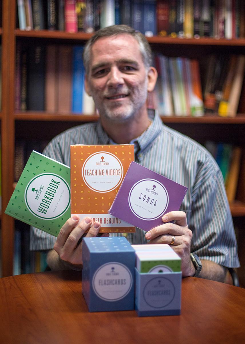 "Bible professor Kenneth Berding hold his new program called ""Bible Fluency"" which is designed to combat biblical illiteracy. 