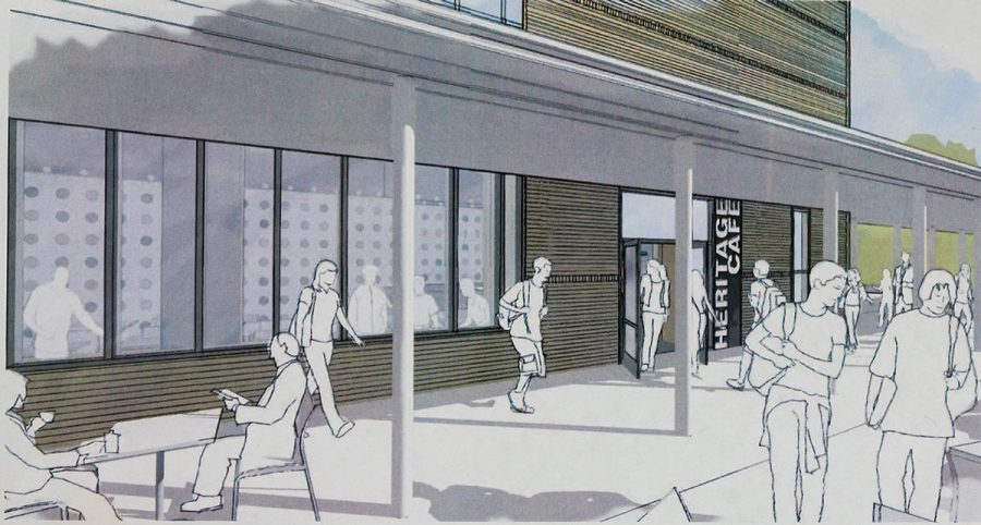 Drawing depicts what the new Heritage Cafe will look like from the outside of the library. | Photo courtesy of Don Sims and Greg Balsano