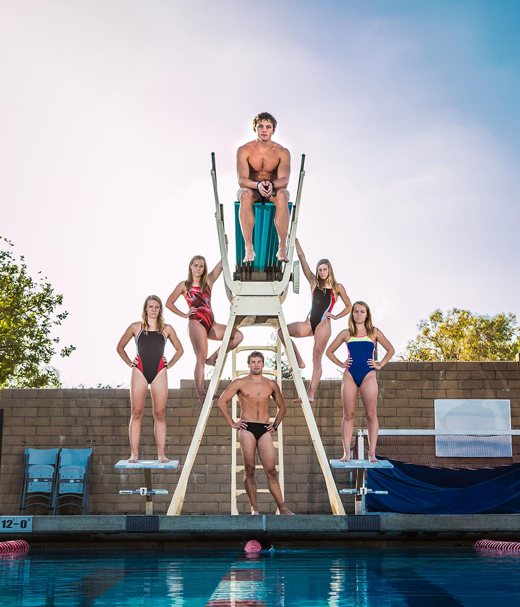 Three pairs of siblings, Christian and Lisa Tixier, Samantha Sophia Dammann, and Bretton and Darrin Smith are part of the Biola swim team.