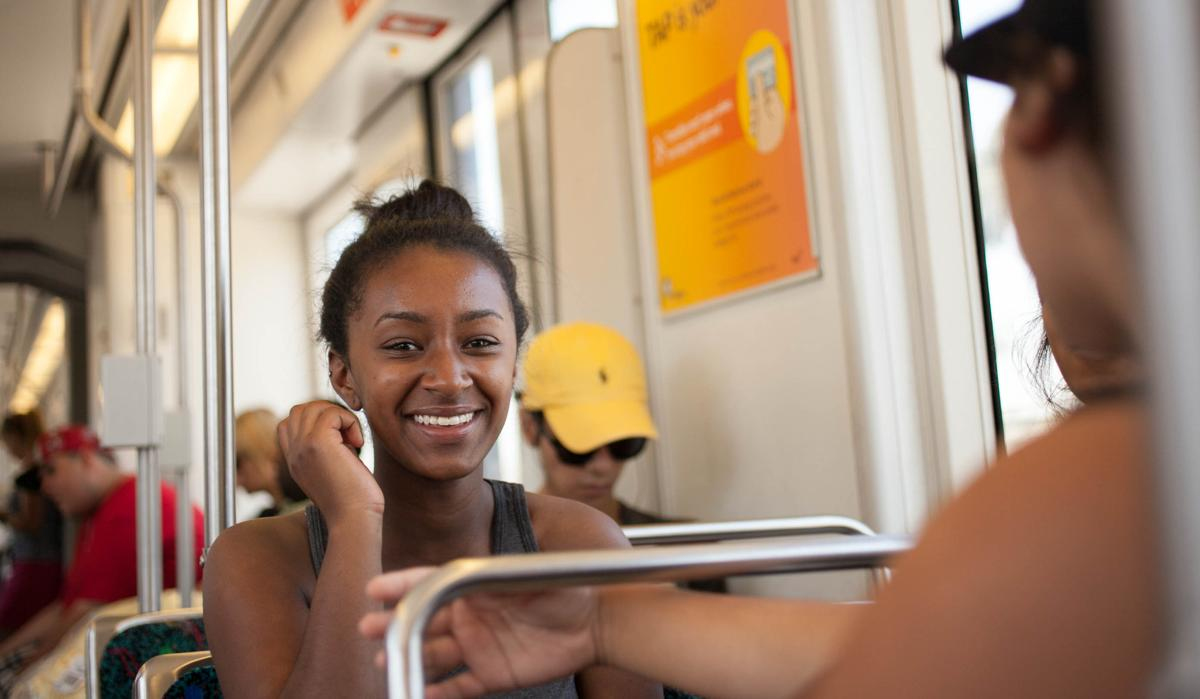 Hasiet Joy Negash captured in a candid moment on the metro heading to Los Angeles.  |  Melanie Kim/THE CHIMES