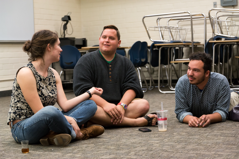Students Lisl Ruckert, Douglas Keller, and Hugo Palomares at the the Muslim ministry meeting last Monday evening. The students of Biola's Muslim Ministry work to extend Christian outreach into the Muslim community by partnering with local groups. | Karin Jensen/THE CHIMES