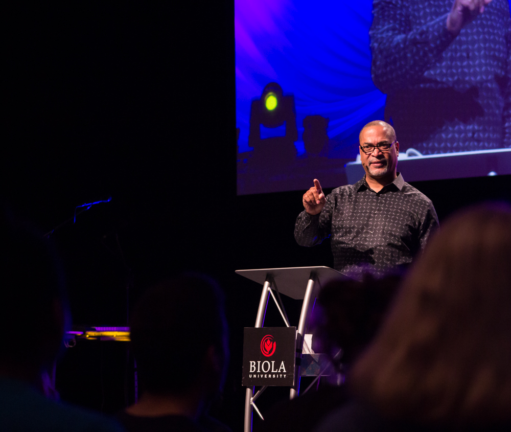 Speaker Henry Joseph draws Missions Conference 2015 to a close by delivering Friday morning's message.  |  Nikki Hadley/THE CHIMES