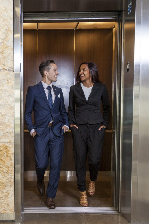 Becker and Stribblings solid, dark-colored suits make them appear professional and well put together for corporate interviews. With a basic silhouette, you can add personality with a range of colors and styles. | Melanie Kim/THE CHIMES