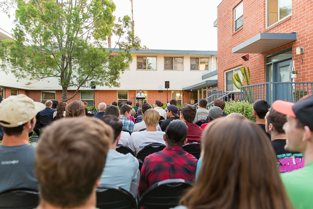 Members of the current Biola community and past Emerson residents gathered at 7 p.m. on April 16 to share memories and experiences from their time in the residence hall, which has been part of the La Mirada campus since 1958. | Tomber Su/THE CHIMES
