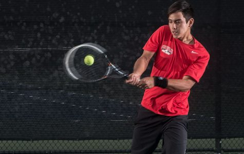 Phillip Westwood, a freshman at Biola, stands out as a strength on the men's tennis team, already breaking school records in his first season playing for Biola. | Aaron Fooks/THE CHIMES
