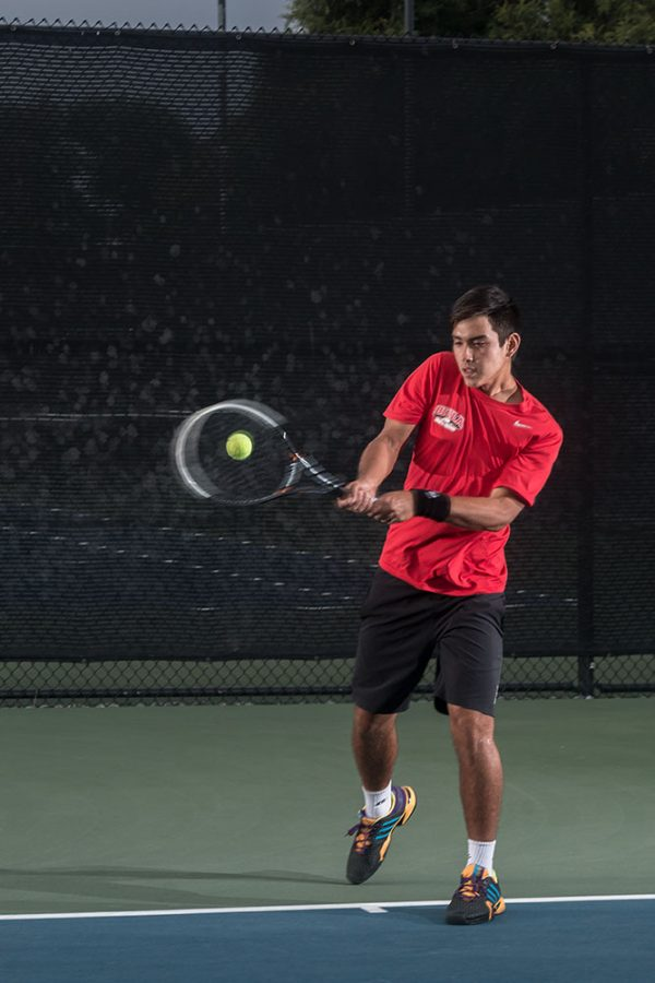 Phillip Westwood, a freshman at Biola, stands out as a strength on the mens tennis team, already breaking school records in his first season playing for Biola.   Aaron Fooks/THE CHIMES