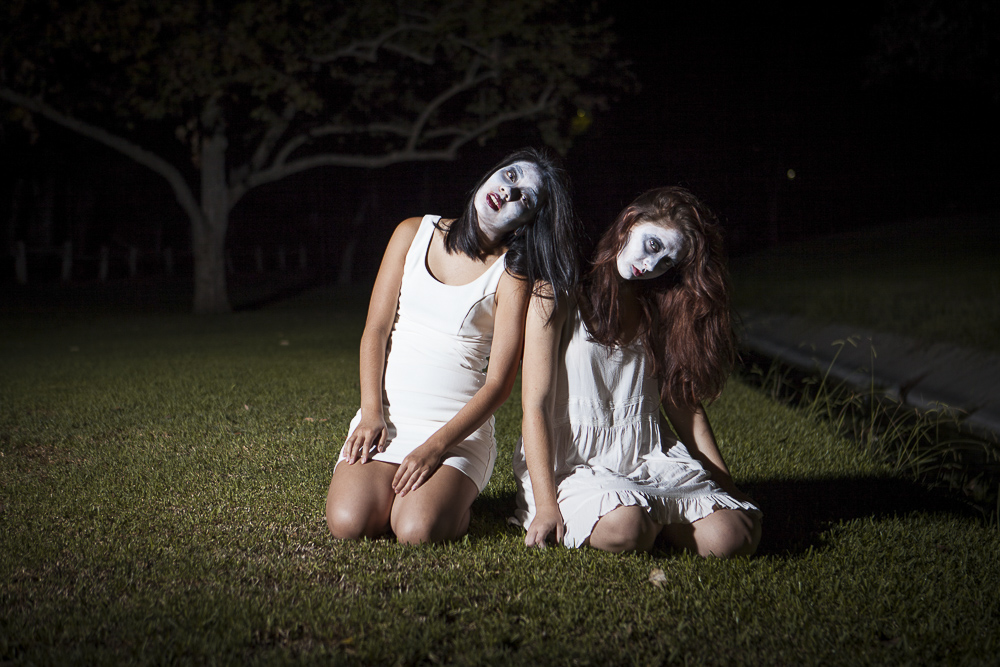 Justine and Jess send shivers up your spine in their undead designer look. | Melanie Kim/THE CHIMES