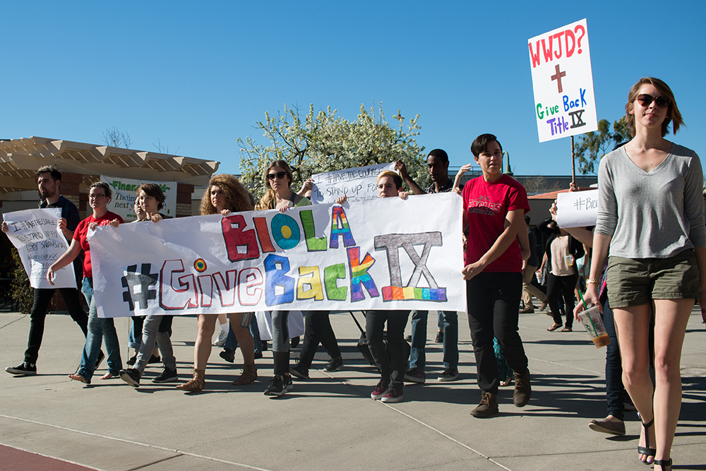 Students and protesters challenge pending Title IX exemption