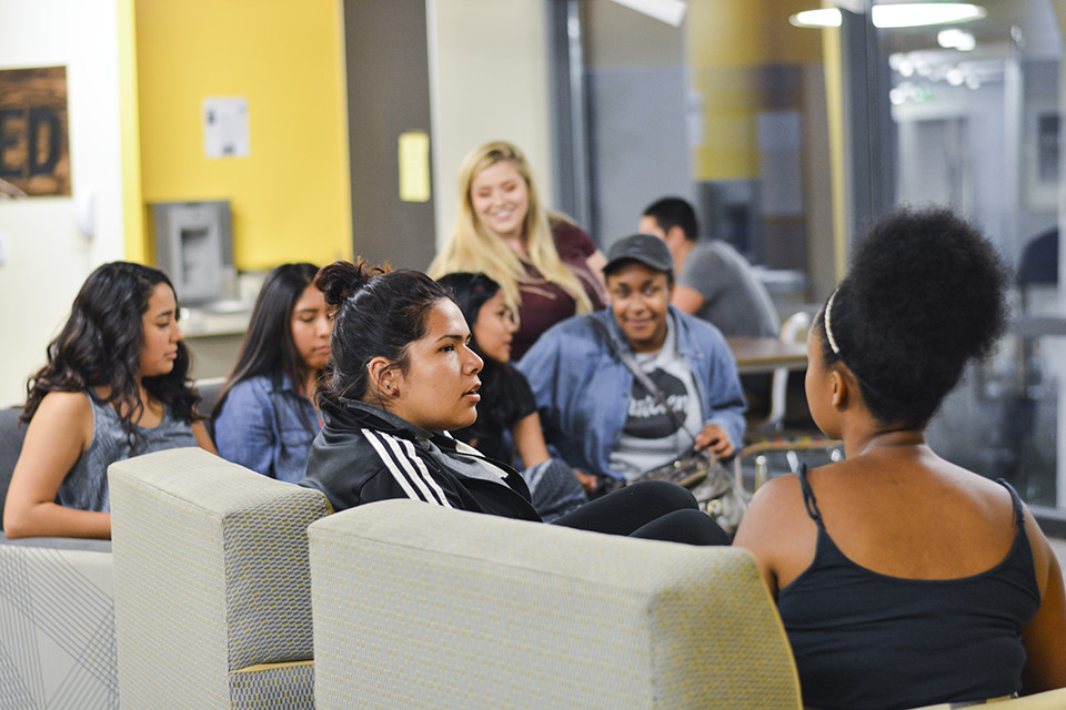 Group of first-gen students in Blackstone lobby