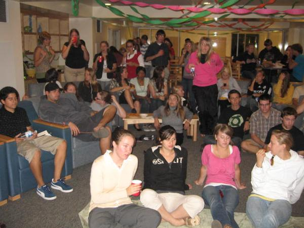 About 100 residents of Hope Hall South crowded into the lounge on Thursday night to watch the premiere of The Office, season four. Numerous other Office parties took place on and off campus.